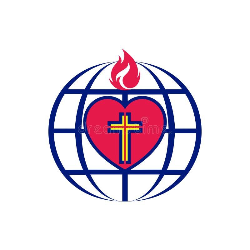 Kościelny logo Krzyż Jezus wśrodku serca, kuli ziemskiej i płomienia, ilustracja wektor