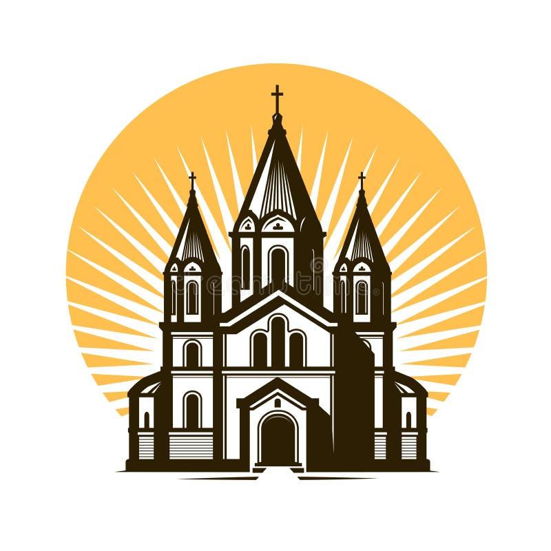 Kościelny logo lub etykietka Religia, wiara symbol również zwrócić corel ilustracji wektora ilustracja wektor