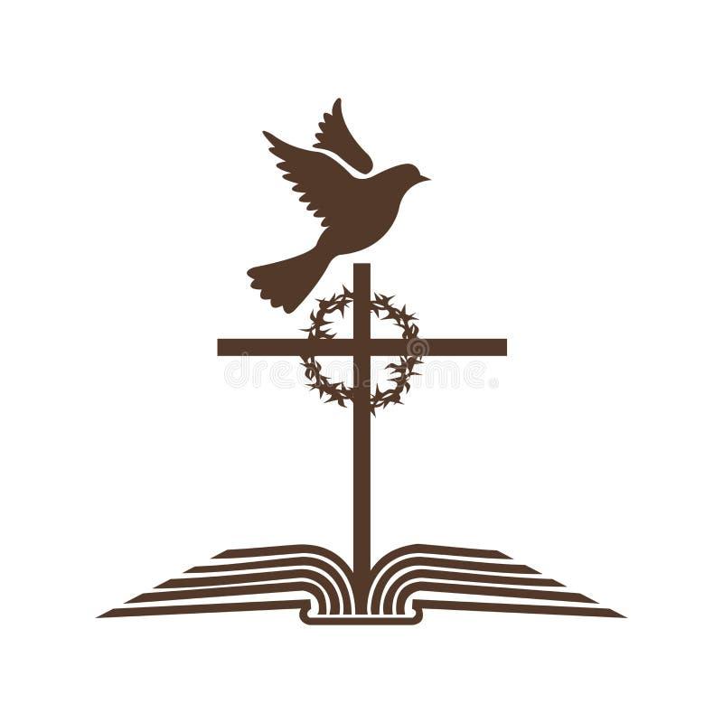 Kościelny logo Otwarta biblia krzyż jezus chrystus korona ciernie i gołąbka, - Święty duch ilustracji