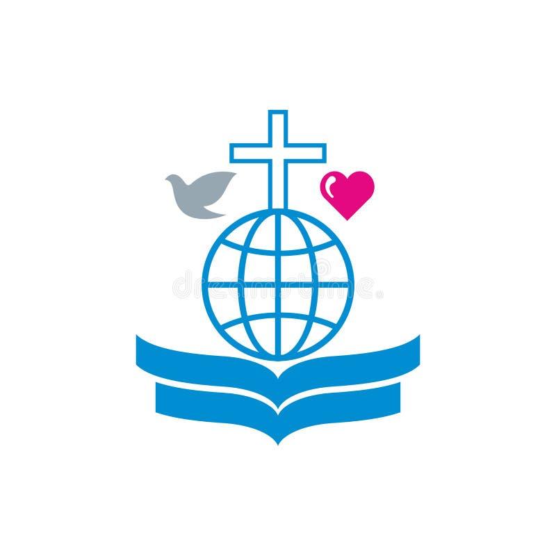 Kościelny logo Otwarta biblia, kula ziemska z krzyżem ilustracji
