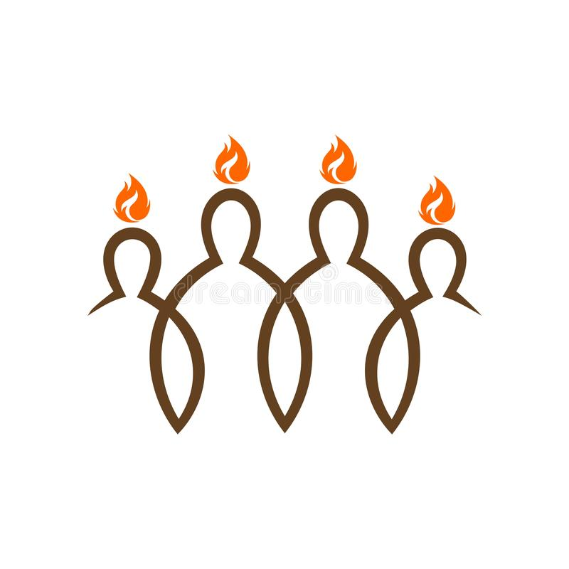 Kościelny logo Pentecost spadek duch na uczni Chrystus ilustracji