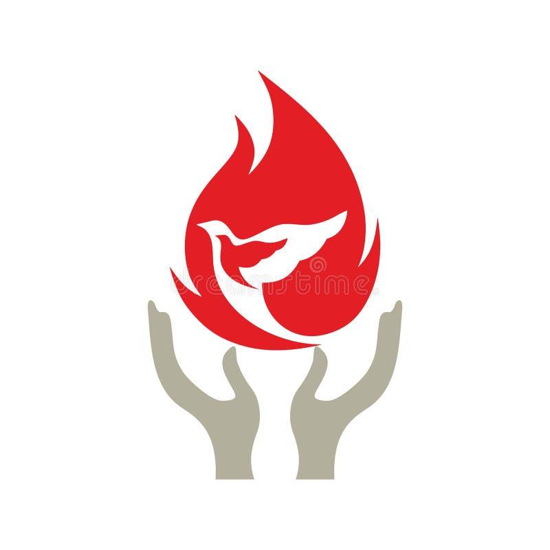 Kościelny logo Ręka zasięg dla Święty Jeden ilustracja wektor