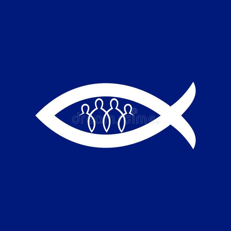 Kościelny logo Znak chrystianizm Jednoczący wiarą w bóg ilustracja wektor
