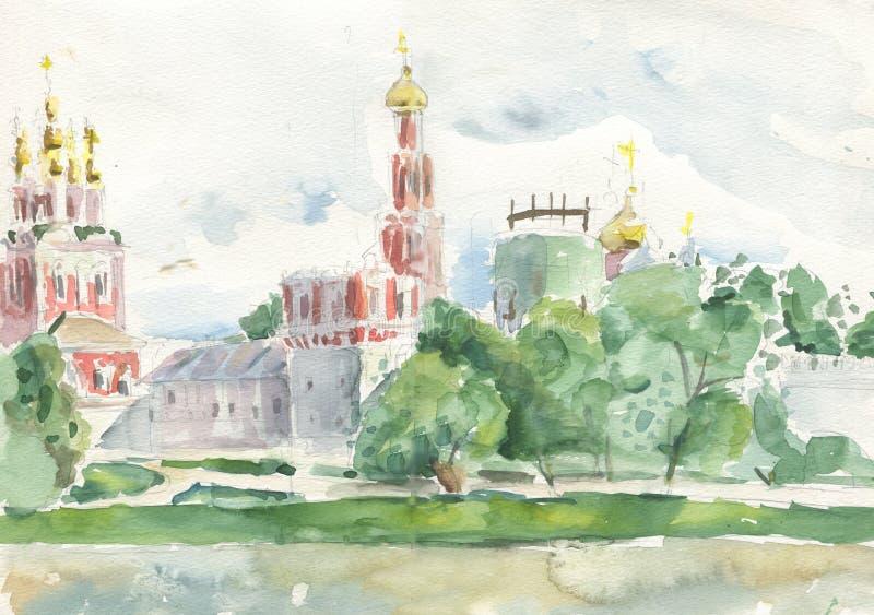 Kościelny Novodevichy klasztor ilustracja wektor