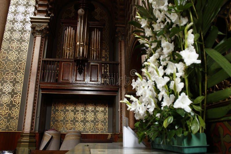 Kościelny organ w kaplicie władyka Świątobliwy Jose w katedrze, Leon, Guanajuato Boczny widok obrazy stock