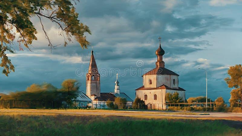 Kościelny rysunek w lecie obrazy royalty free