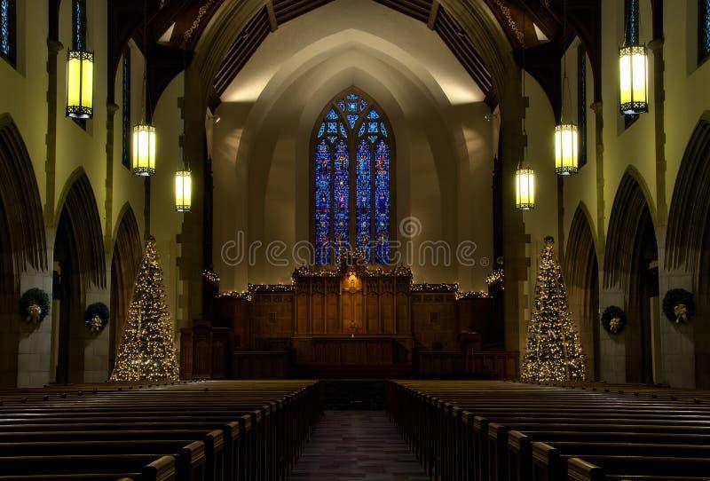 Kościelny wnętrze na wigilii obraz royalty free