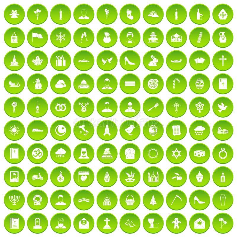 100 kościelnych ikon ustawiający zielony okrąg ilustracja wektor