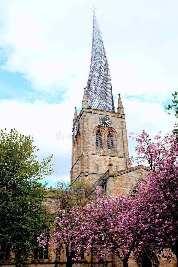 Koślawa iglica, Chesterfield, Derbyshire obraz stock