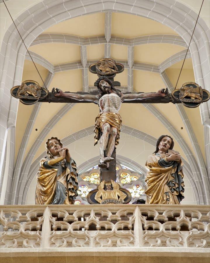 Košice - высеканная статуя ans St. John Mary креста и девственницы от года 1420 стоковое фото
