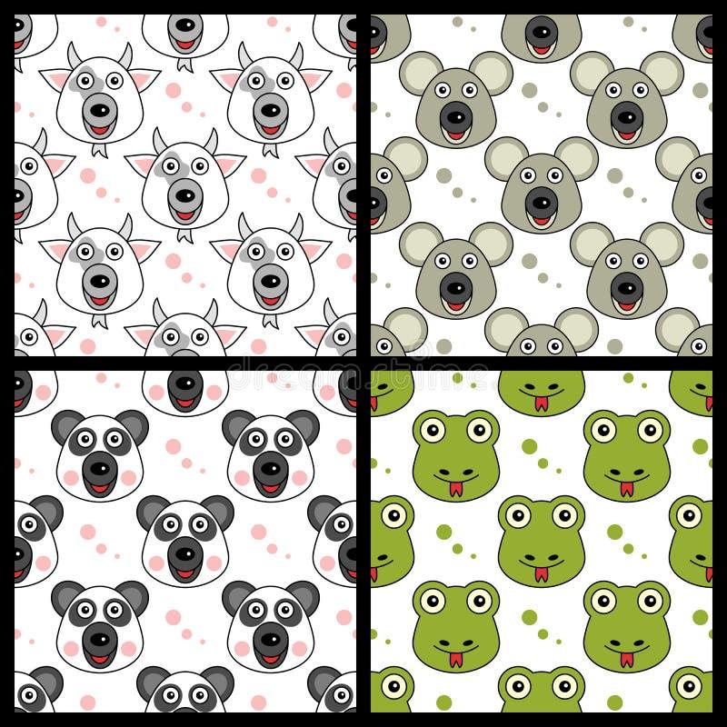 Koźli koali pandy wąż Bezszwowy royalty ilustracja