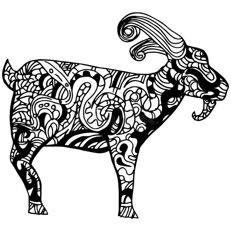 Koźli Zentangle styl ilustracja wektor