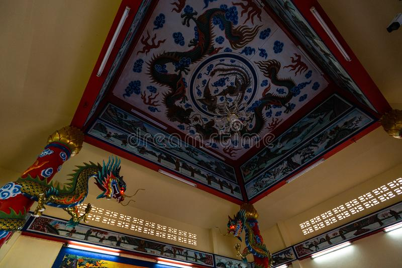 KO CHANG, THAILAND - APRIL 10, 2018: Chinese buddist temple in the north area of the island - Hieroglyphs and patterns stock image