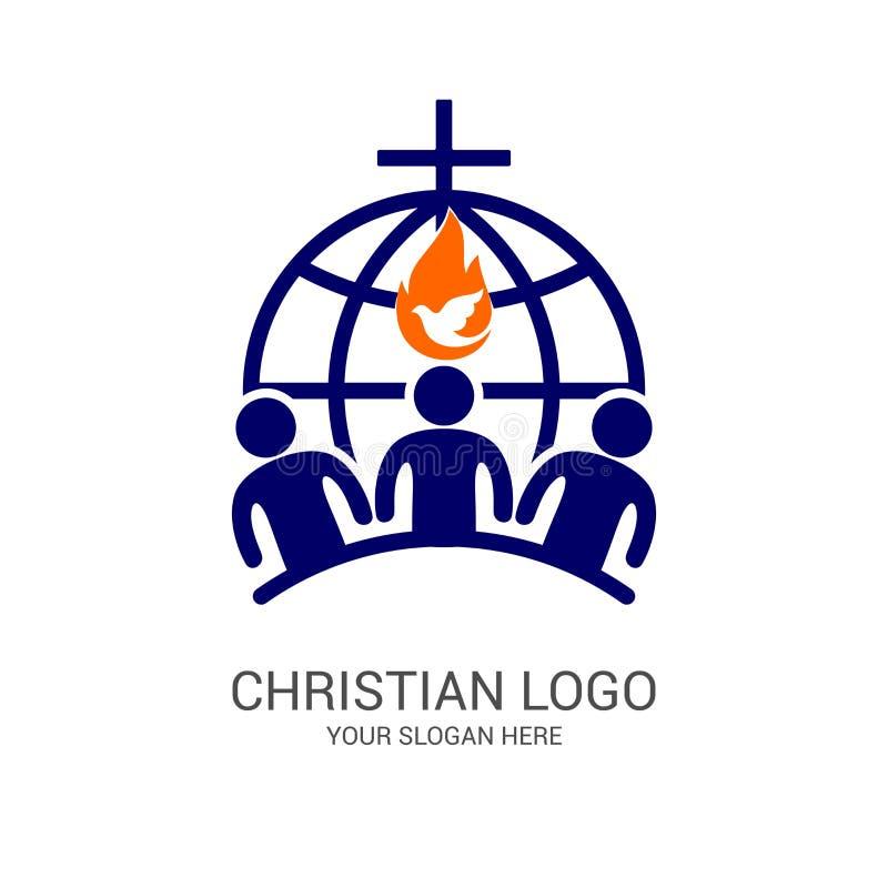 Ko?cielny logo i biblijni symbole Jedno?? wierz?cy w jezus chrystus cze?? b?g, uczestnictwo w wiecz?r ilustracja wektor