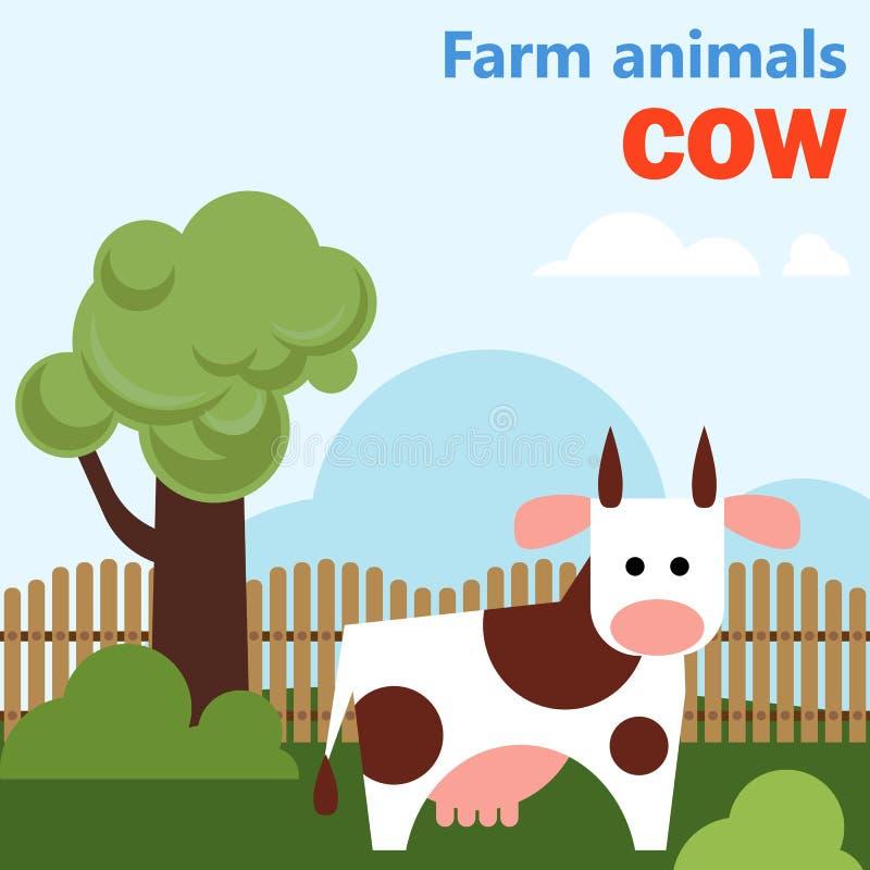 Ko för lantgårddjur royaltyfri illustrationer