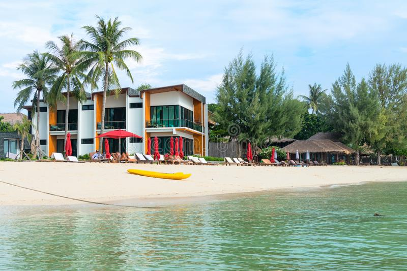 Download Seaview Hotel With Sunbeds And Umbrellas On A Clean Tropical San Editorial Photo - Image of 2017, thailand: 108136961