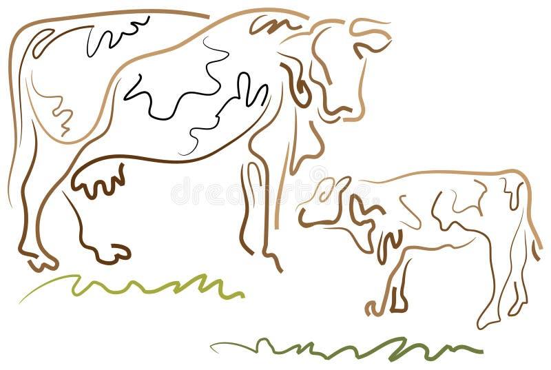 Ko och kalv royaltyfri illustrationer