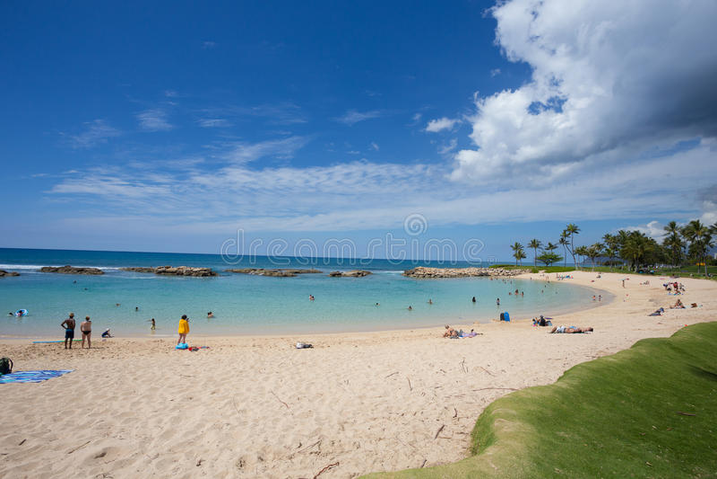 Ko ` olina人造盐水湖在奥阿胡岛夏威夷 免版税图库摄影