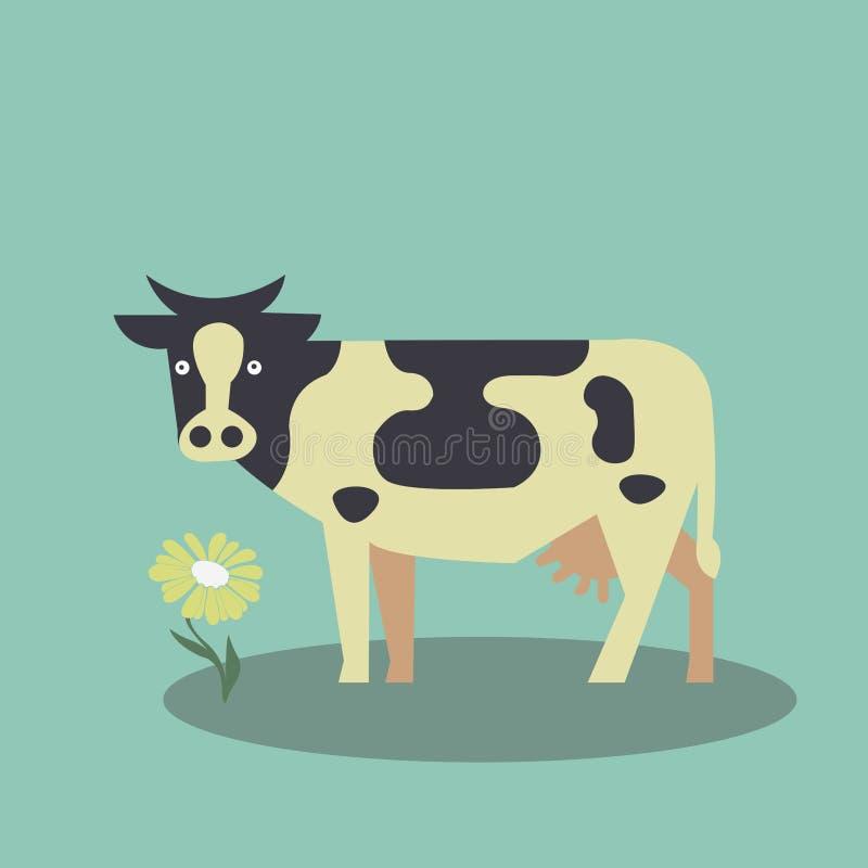 Ko på gräsmattan med den vita kamomillen vektor illustrationer