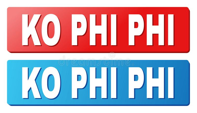 KO PHI Caption on Blue and Red Rectangle Buttons. KO PHI text on rounded rectangle buttons. Designed with white caption with shadow and blue and red button stock illustration
