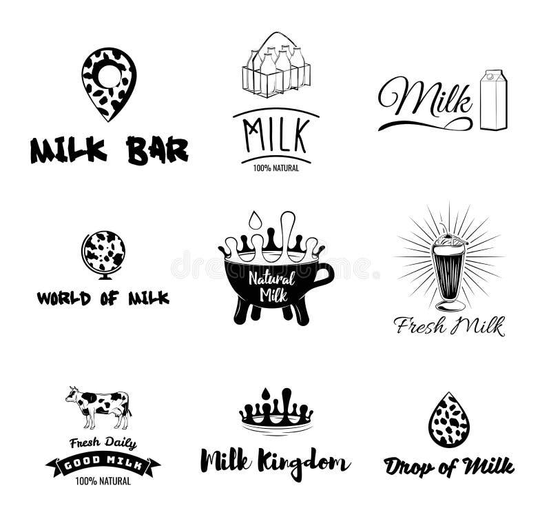 Ko s mjölkar etiketter, emblem, symboler och designbeståndsdelar nytt mjölka vektor stock illustrationer