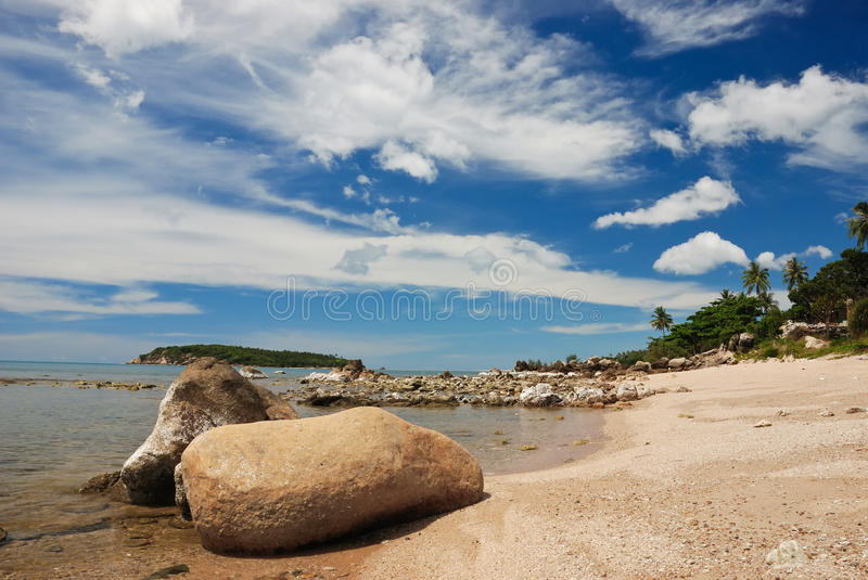 Ko samui beach. Landscape of ko samui beach with polarize lens filter stock photo