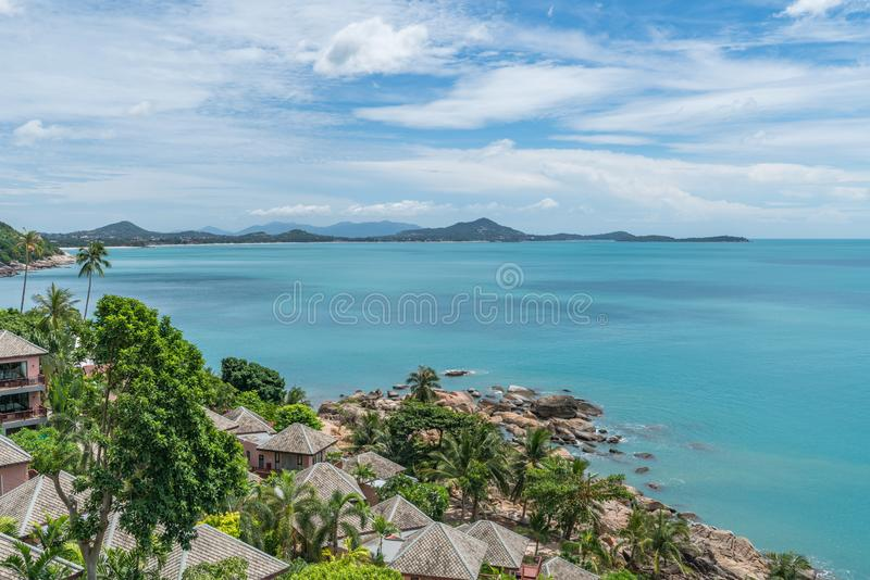 Ko Samui Beach Seascape with Sunlight and Blue Sky, Thailand. Ko Samui Beach Seascape with Sunlight and Blue Sky royalty free stock image