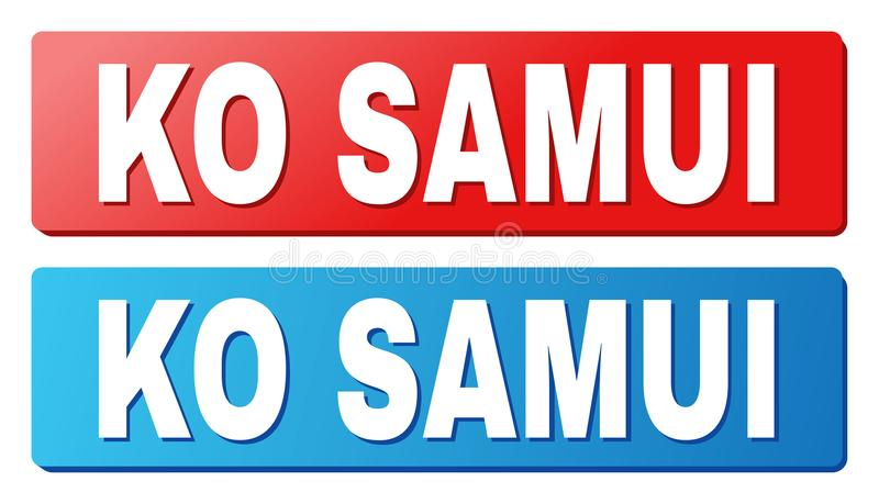 KO SAMUI Caption on Blue and Red Rectangle Buttons. KO SAMUI text on rounded rectangle buttons. Designed with white caption with shadow and blue and red button royalty free illustration