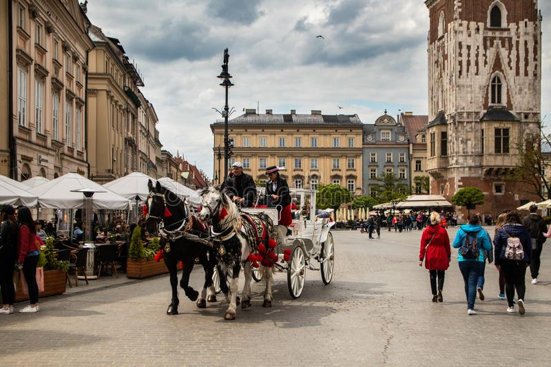 Ko?scy frachty przy ulic? w Krakow obraz royalty free