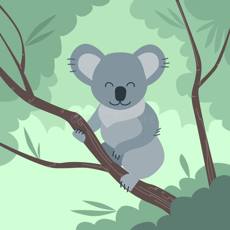 Koala Bear Jungle Tree Flat Vector vector illustration