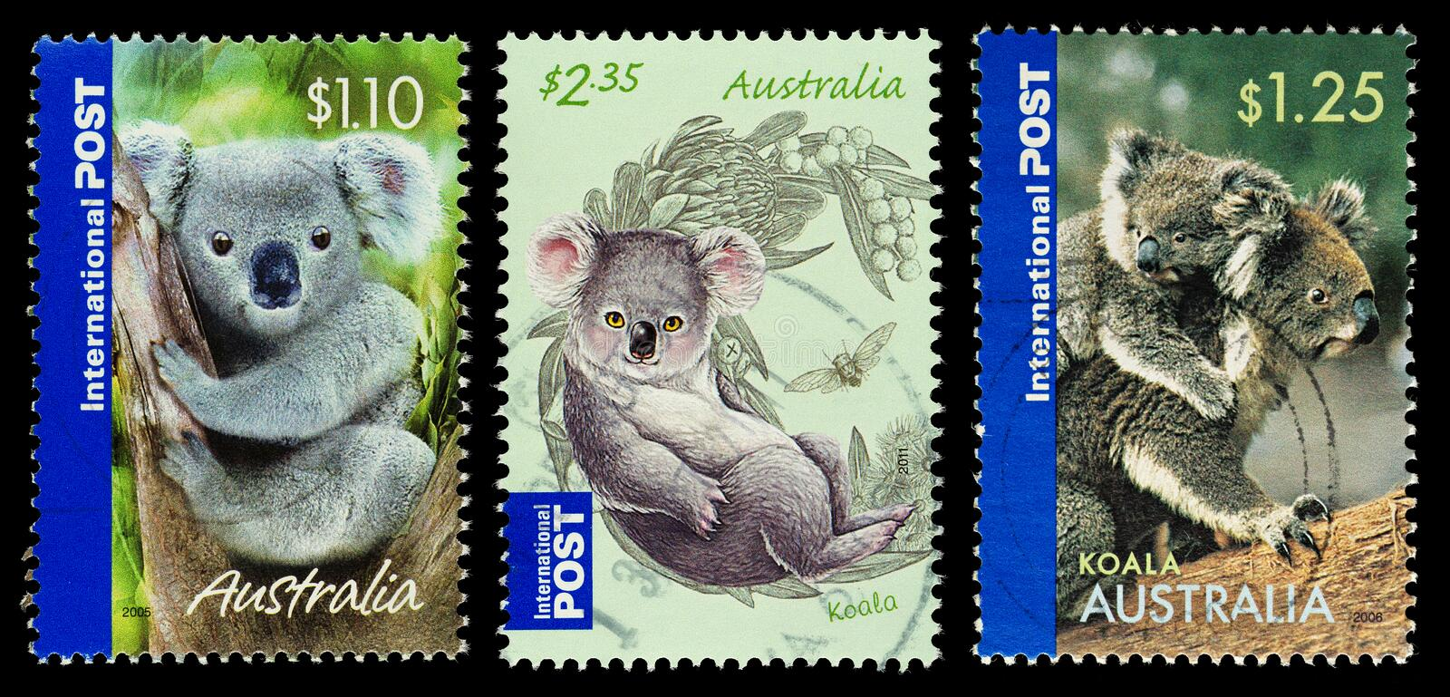 Koala Bear Postage Stamps. Three Australian Used Postage Stamps showing Koala Bears royalty free stock photo
