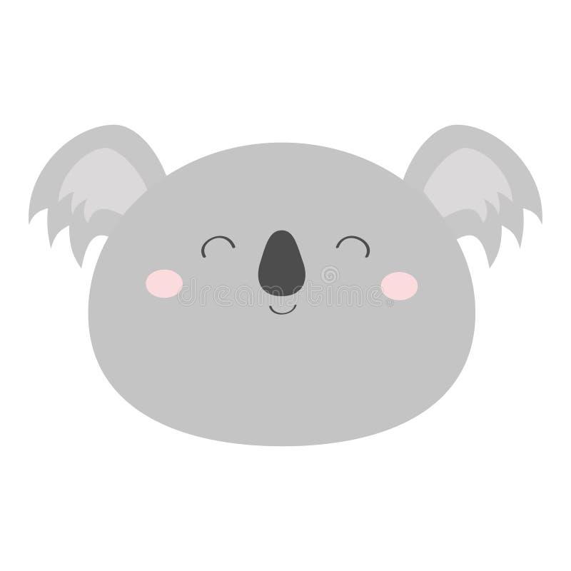 Koala bear round face head icon. Kawaii animal. Cute cartoon character. Funny baby with eyes, nose, ears. Kids print. Love. Greeting card. Flat design. White stock illustration