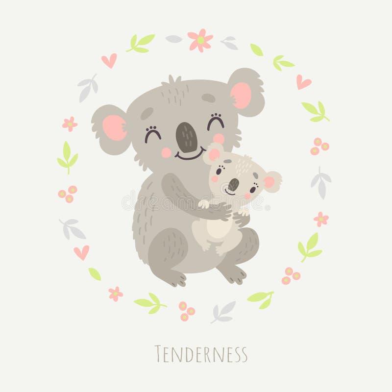 Koala bonito Grupo de caráteres, vetor ilustração stock