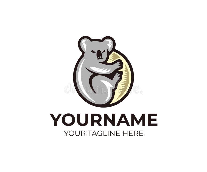 Koala climbing on eucalyptus tree logo template. Grey koala bear vector design royalty free illustration
