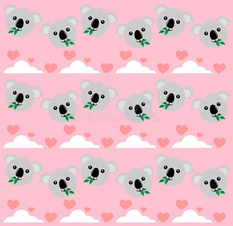 Koala com nuvens a rosa ilustração do vetor