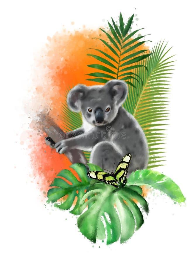 Koala con una mariposa en un fondo anaranjado de los descensos de la pintura libre illustration