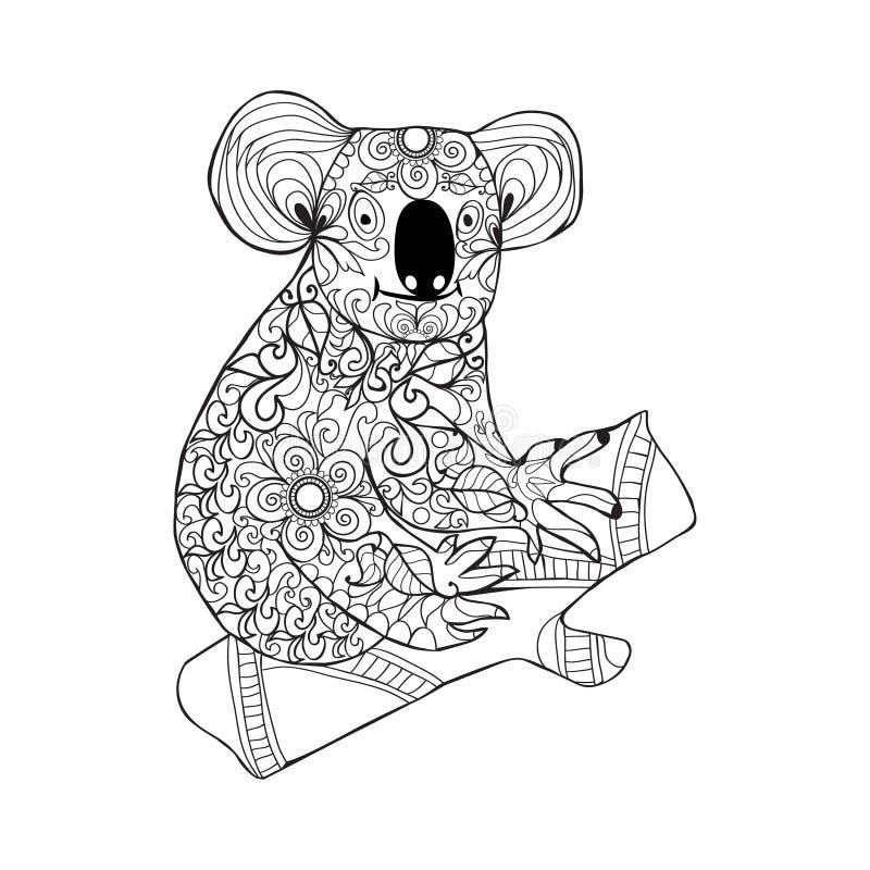 koala Czarna biała ręka rysujący doodle zwierzę dla barwić stronę ilustracja wektor