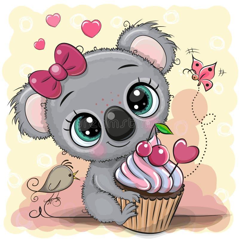 Koala de bande dessinée de carte de voeux avec le gâteau illustration stock