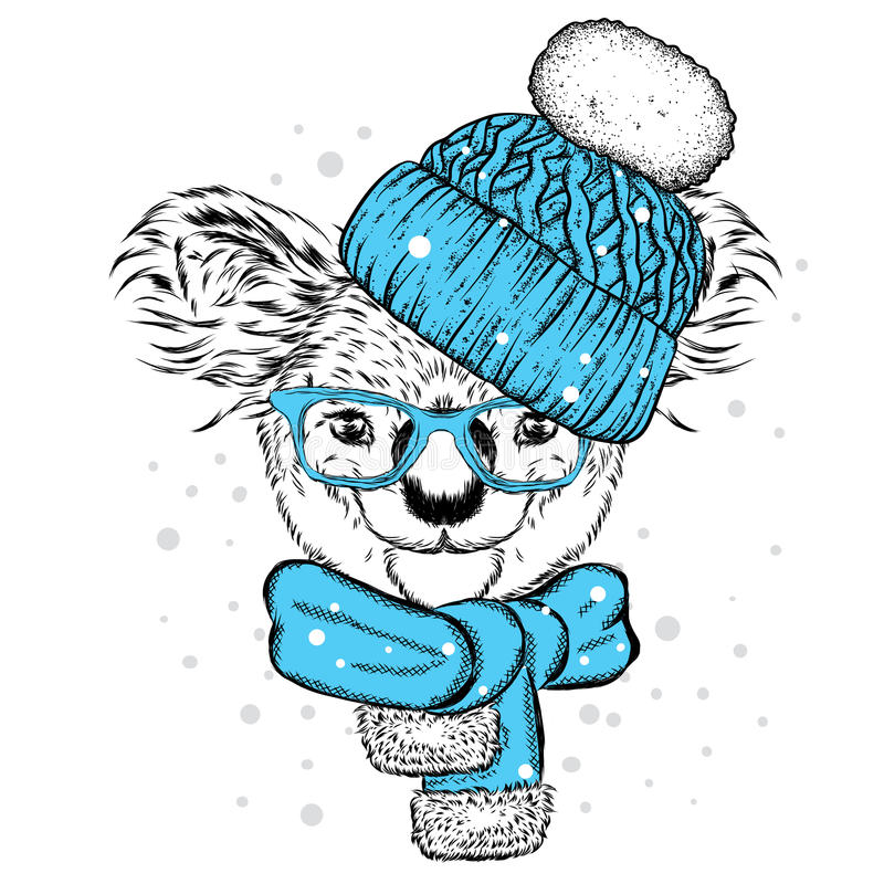 Koala de la diversión en sombrero y bufanda Vector el ejemplo para la postal o el cartel, impresión en la ropa Año Nuevo y la Nav ilustración del vector