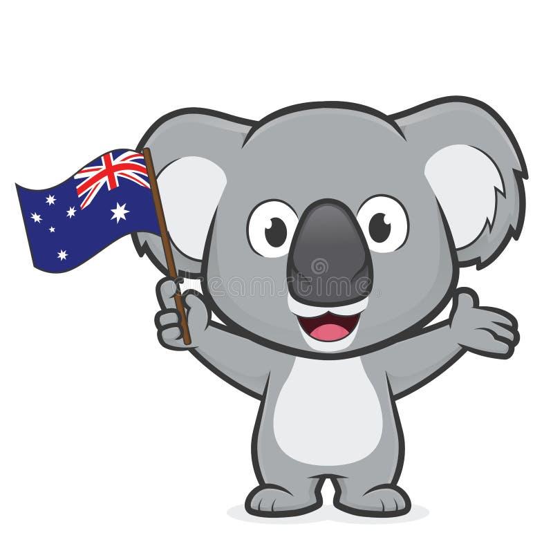 Koala, der australische Flagge hält stock abbildung