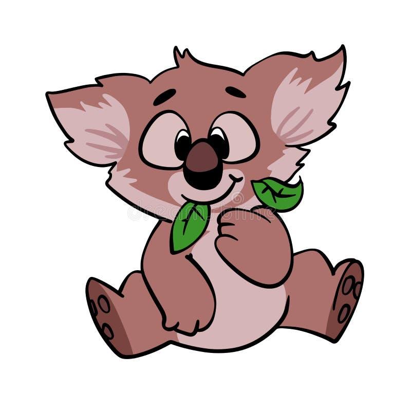 Koala, der Blattkarikatur isst lizenzfreie abbildung