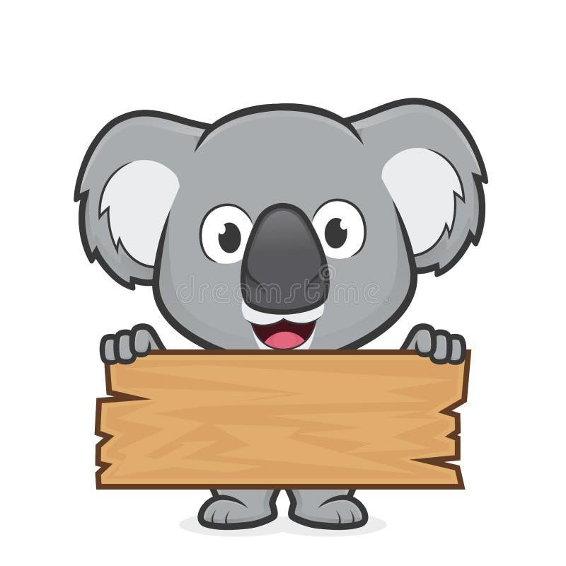 Koala, der eine Planke des Holzes hält vektor abbildung