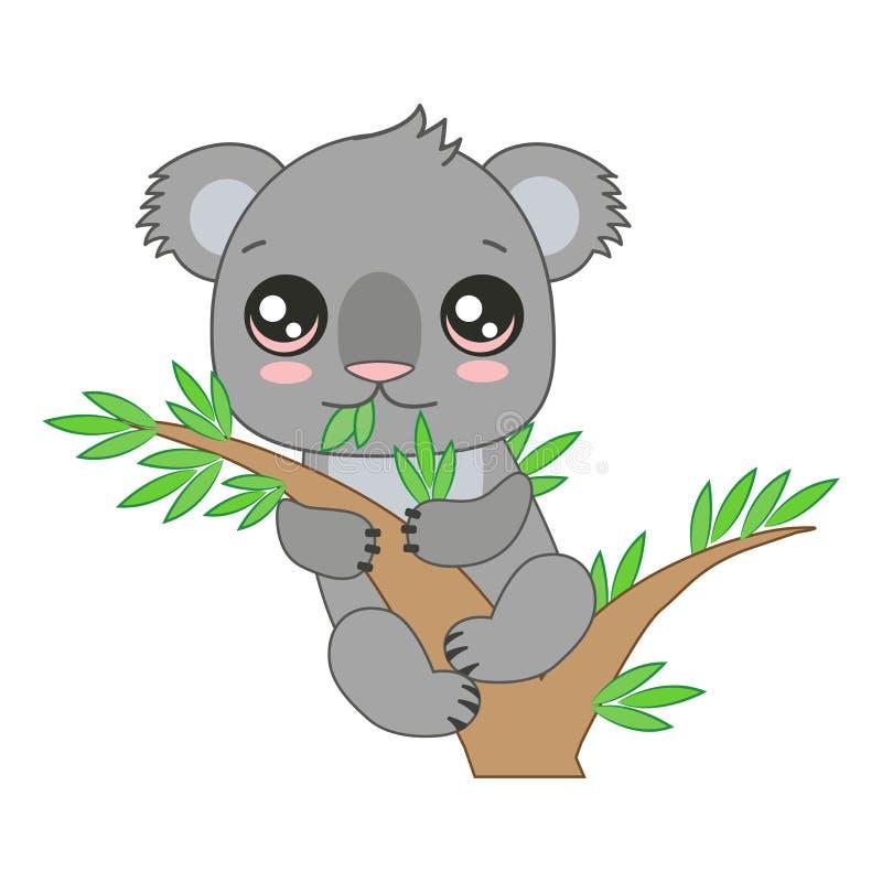 Koala divertente del bambino che appende sul bambù Illustrazione di vettore del fumetto illustrazione di stock