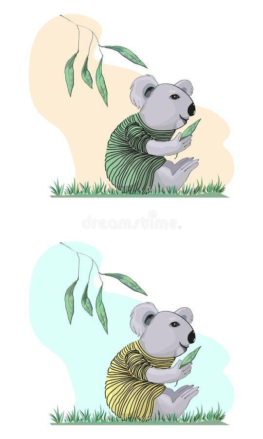 Koala in einer gestreiften Strickjacke in einer Karikaturart vektor abbildung