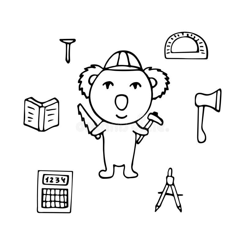 Koala el ingeniero civil con el hacha y una sierra stock de ilustración