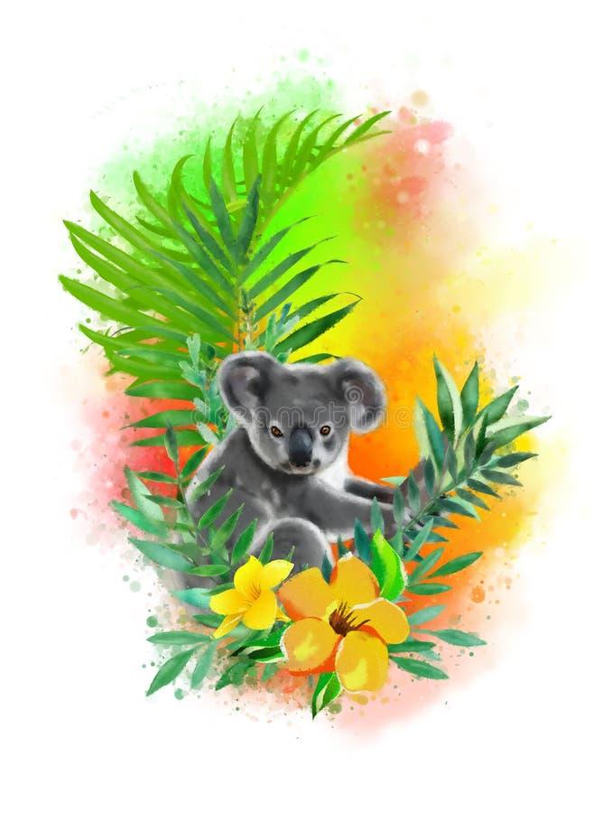Koala en flores tropicales en un arco iris de los descensos de la pintura libre illustration