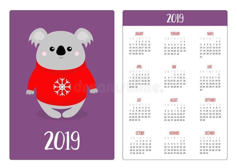 Koala en suéter feo rojo de la Navidad con el copo de nieve Año Nuevo de la disposición de calendario del bolsillo 2019 simples L ilustración del vector