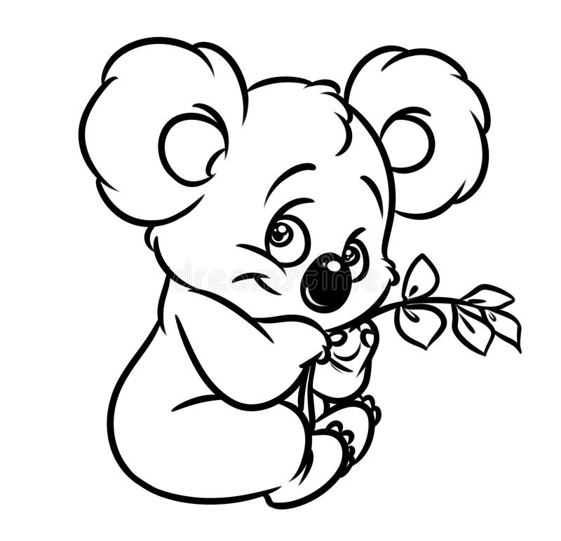 Koala Eucalyptus Leaves Coloring Page Stock Illustration ...