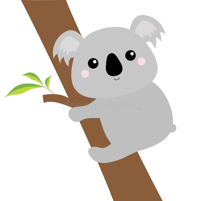 Koala face head hanging on eucalyptus tree. Gray silhouette. Kawaii animal. Cute cartoon bear character. Funny baby with eyes, nos royalty free illustration
