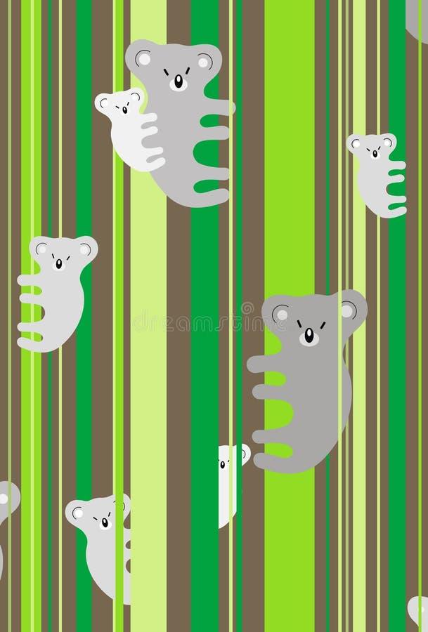 Koala family. Illustration of koala family sitting on the tree vector illustration